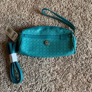 BNWT Relic Printed Logo Zip Pouch/Wristlet in Blue